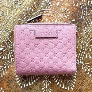 GUCCI Small Pink Leather Zip Compact Wallet